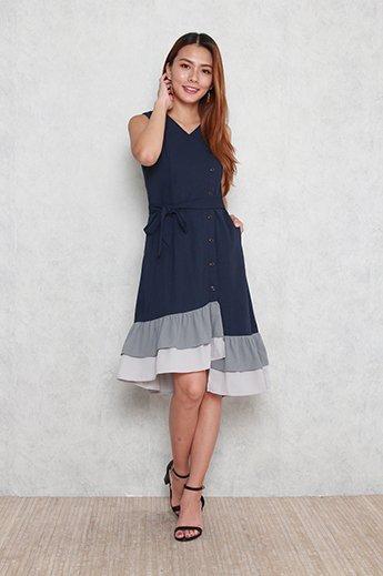 Hadley Tiered Colorblock Hem Dress in Navy Blue