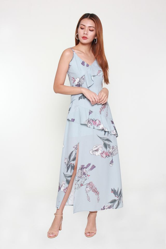 Gardenia Floral Maxi Dress in Greyish Blue