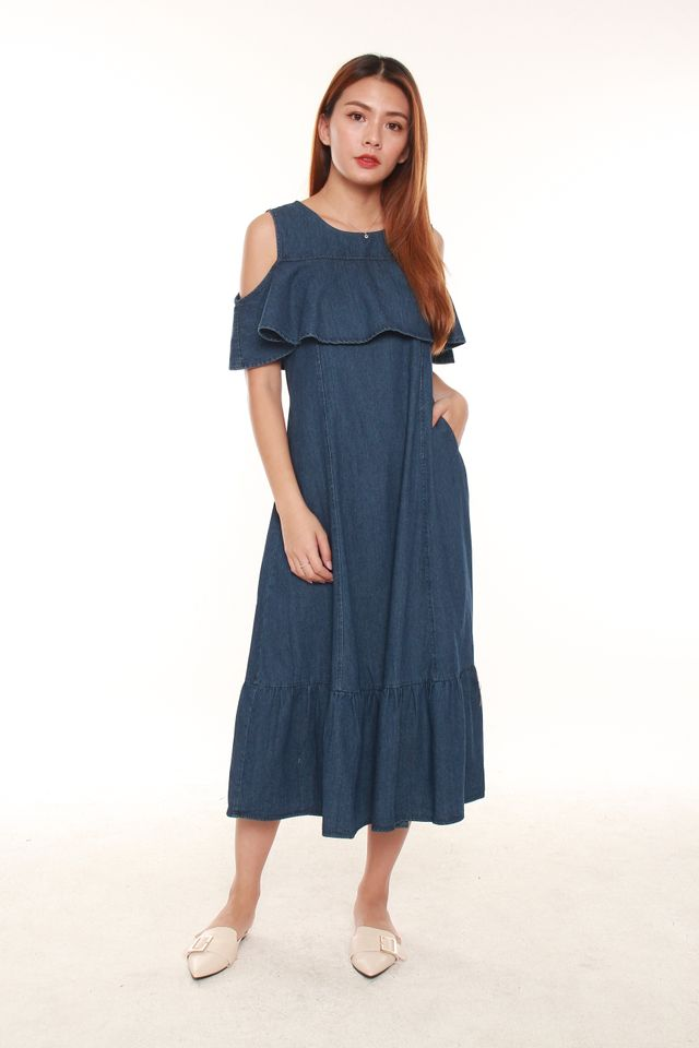 Deanna Cold Shoulder Midi Dress in Denim