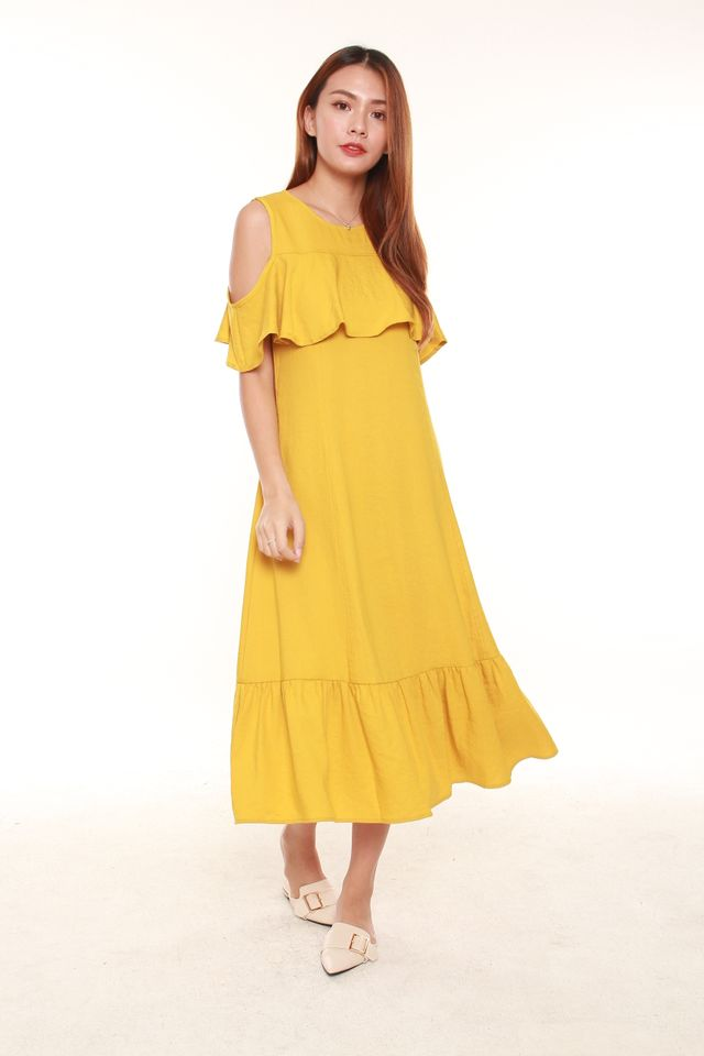 Deanna Cold Shoulder Midi Dress in Mustard