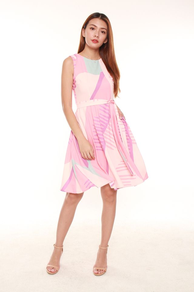 Karin Abstract Skater Dress in Pink