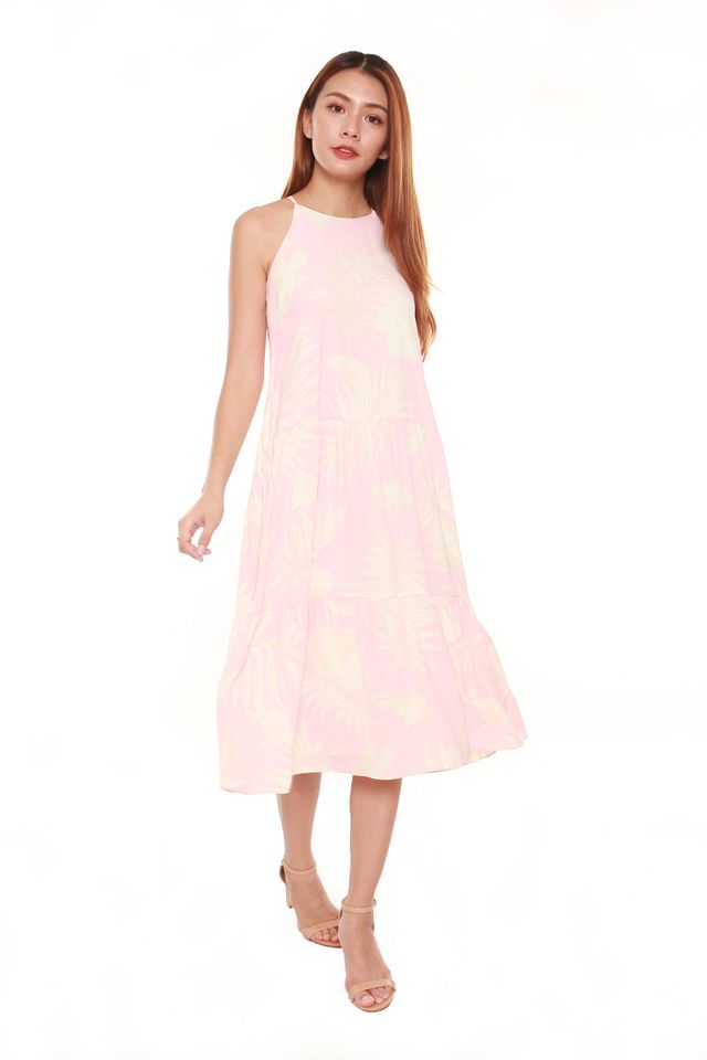 Elisia Tropical Floral Tiered Maxi Dress in Pink