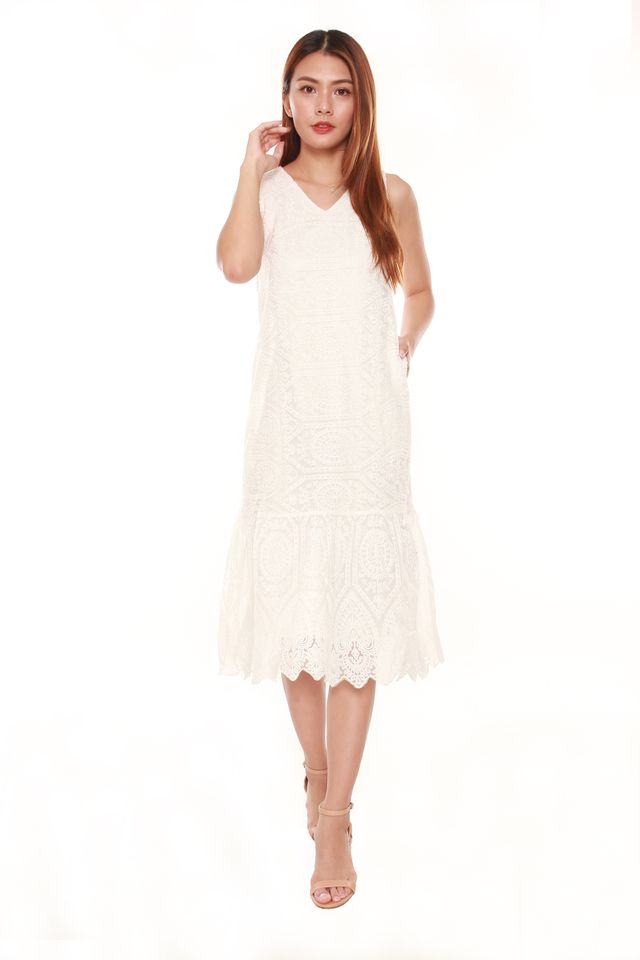 Janessa Layered Lace Midi Dress in White