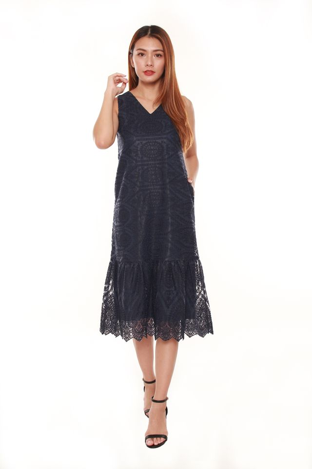 Janessa Layered Lace Midi Dress in Navy Blue