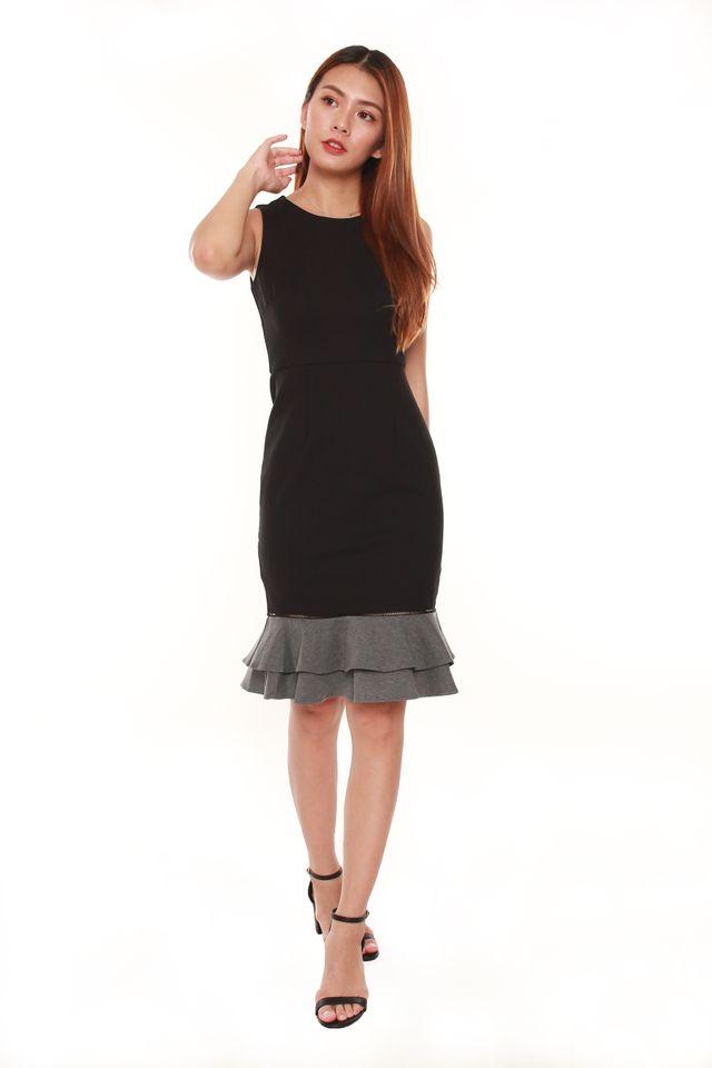 Chana Trumpet Colorblock Dress in Black