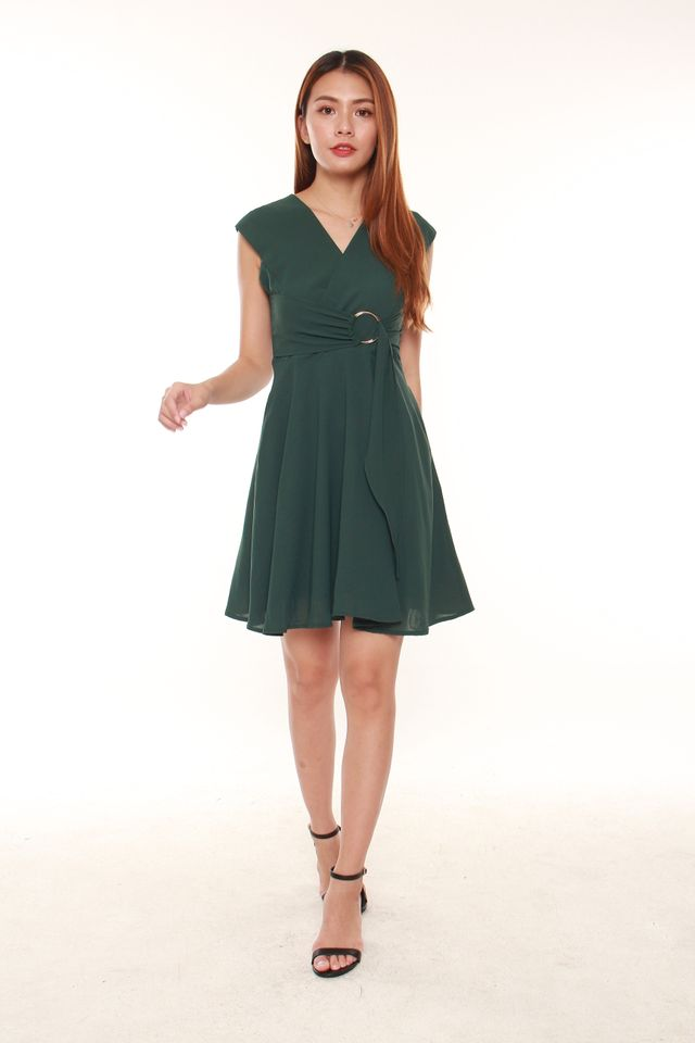 Lavera Faux Wrap Dress with Rings in Forest Green