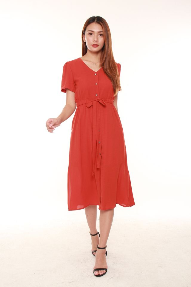 Eldoris Button Midi Tea Dress in Rust