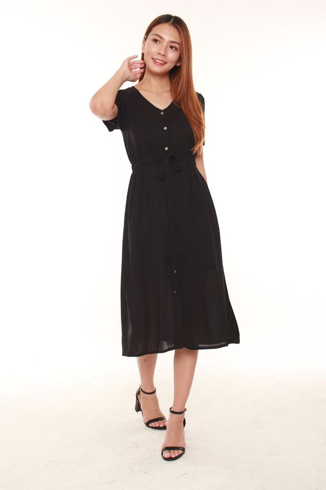 Elders Button Midi Tea Dress in Black