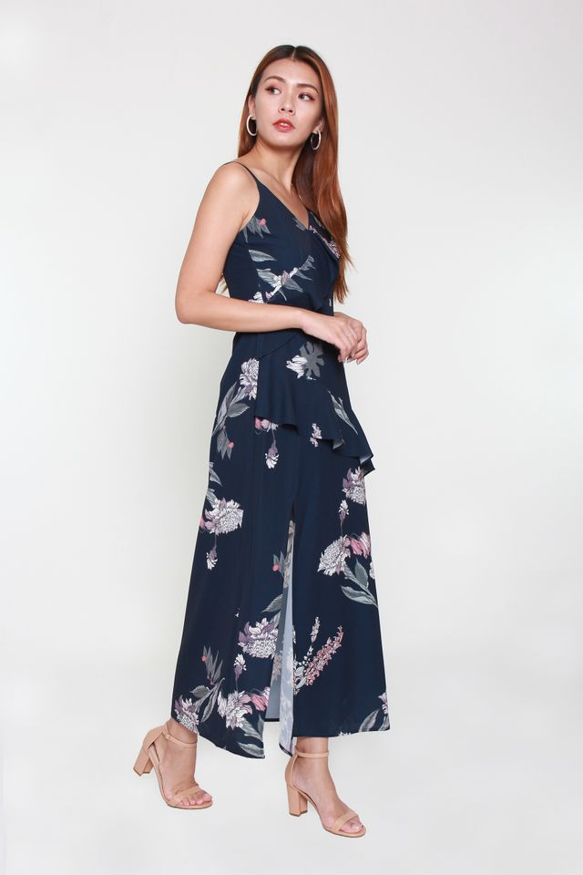 Gardenia Floral Maxi Dress in Navy Blue