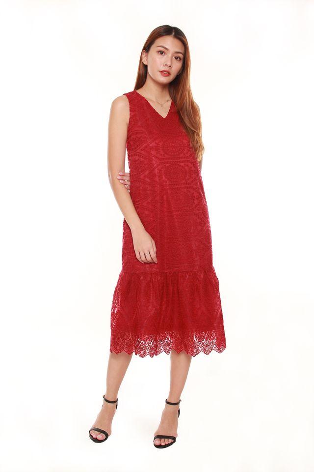 Janessa Layered Lace Midi Dress in Wine