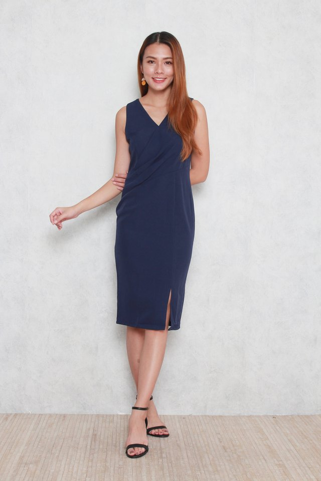 Trinity V-Neck Pencil Dress in Blue