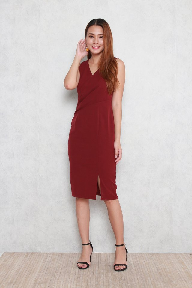 Trinity V-Neck Pencil Dress in Wine