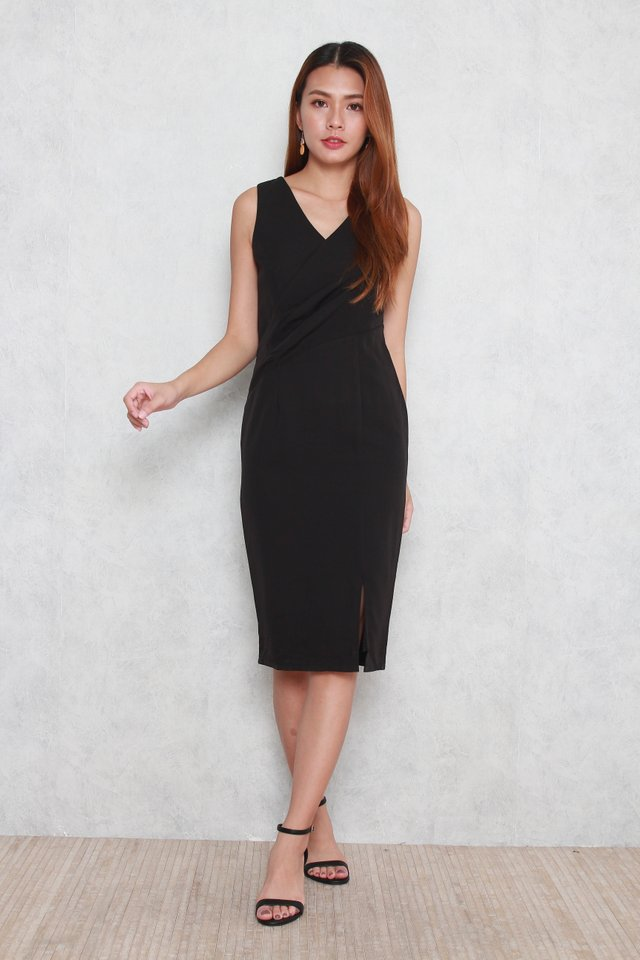 Trinity V-Neck Pencil Dress in Black