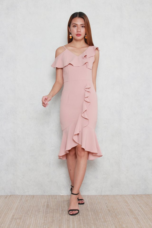 Therese Ruffled Dress in Pink