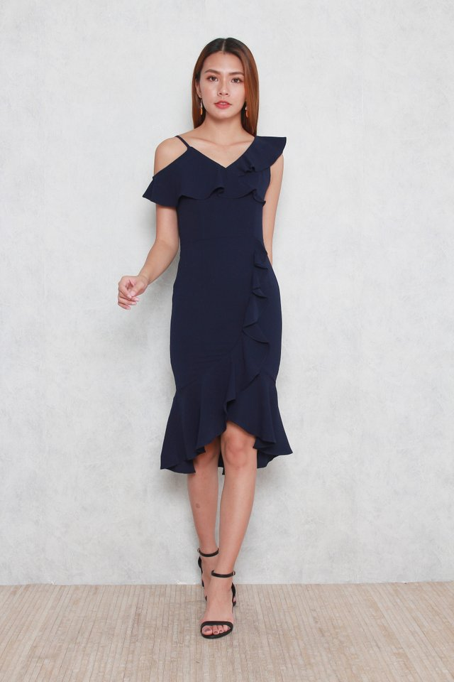 Therese Ruffled Dress in Navy Blue