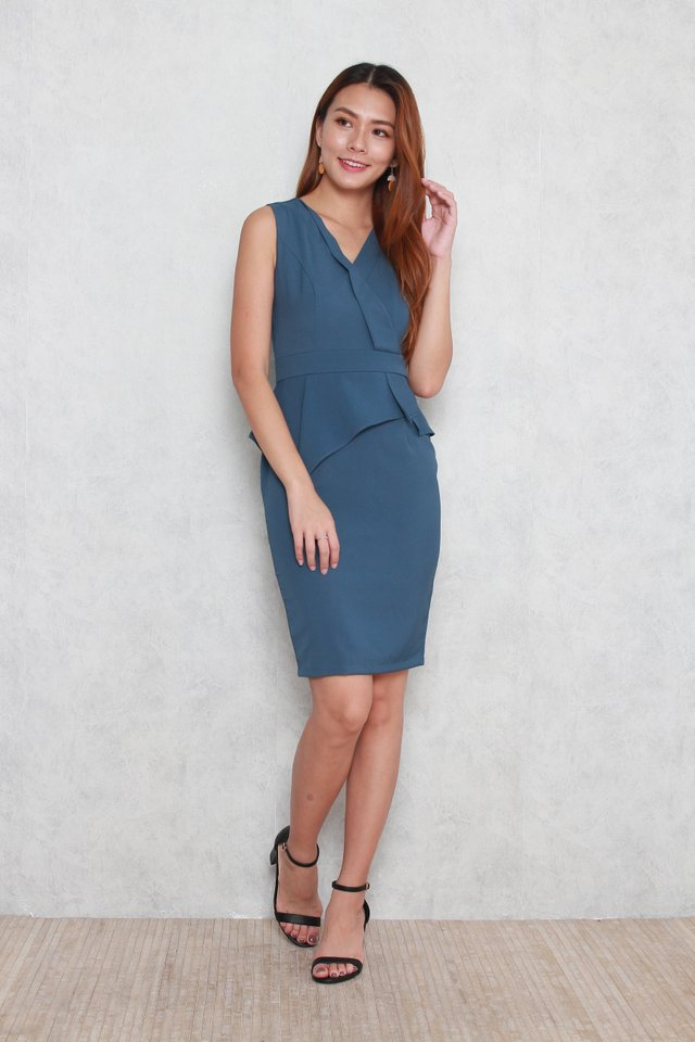 Kamila Vest Peplum Dress in Blue Grey