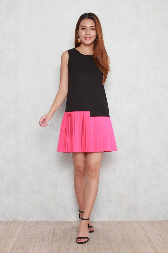 Alivia Pleated Mini Dress in Pink