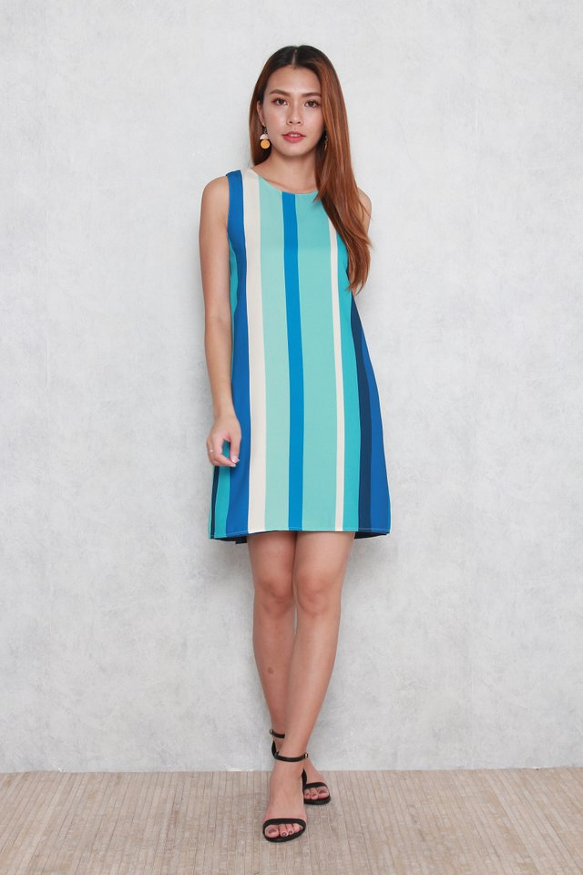 Lola Color Stripes Reversible Dress in Multi Blue/Ash Blue