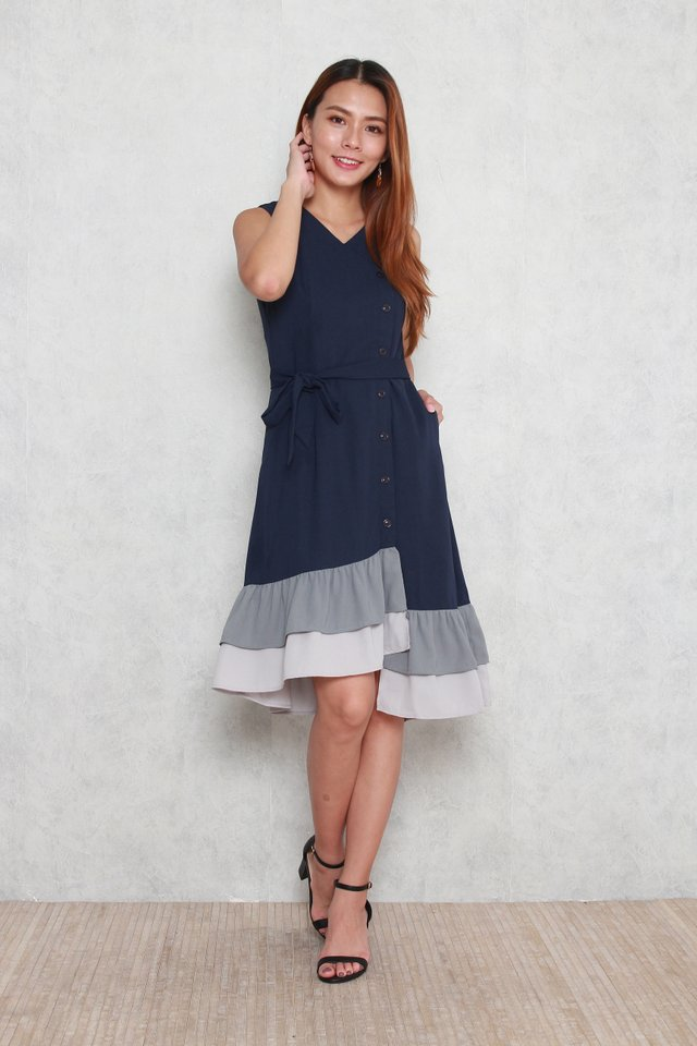 Hadley Tiered Colorblock Hem Dress in Navy Blue