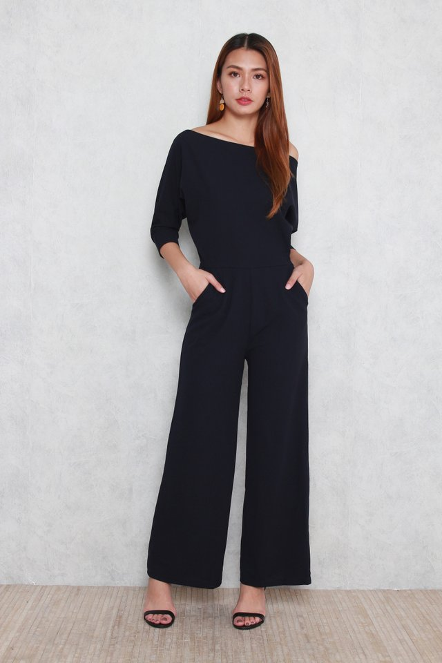 Daniela Off-Shoulder Jumpsuit in Blue