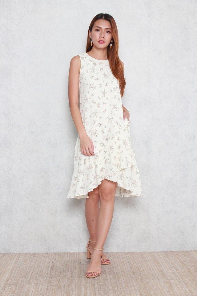 Adalyn Floral Print Dress in Beige