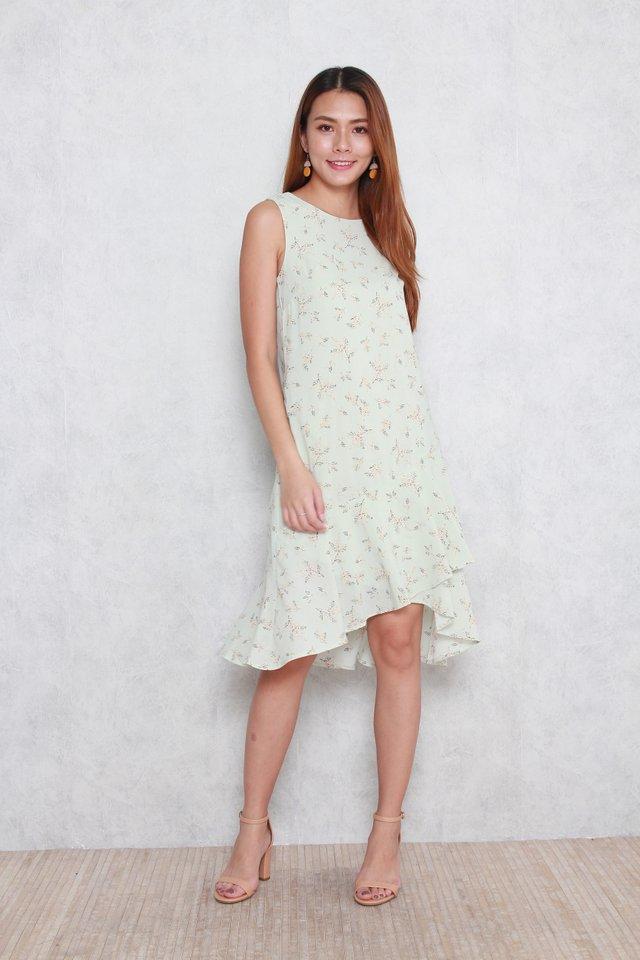 Adalyn Floral Print Dress in Mint