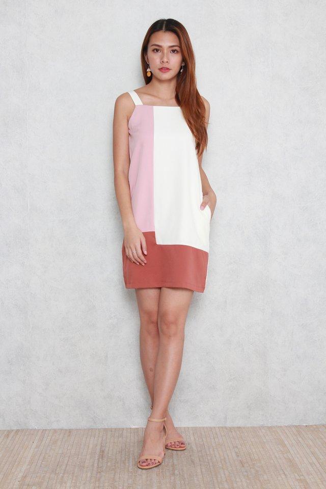Mabel Colorblock Midi Dress in Tea Rose