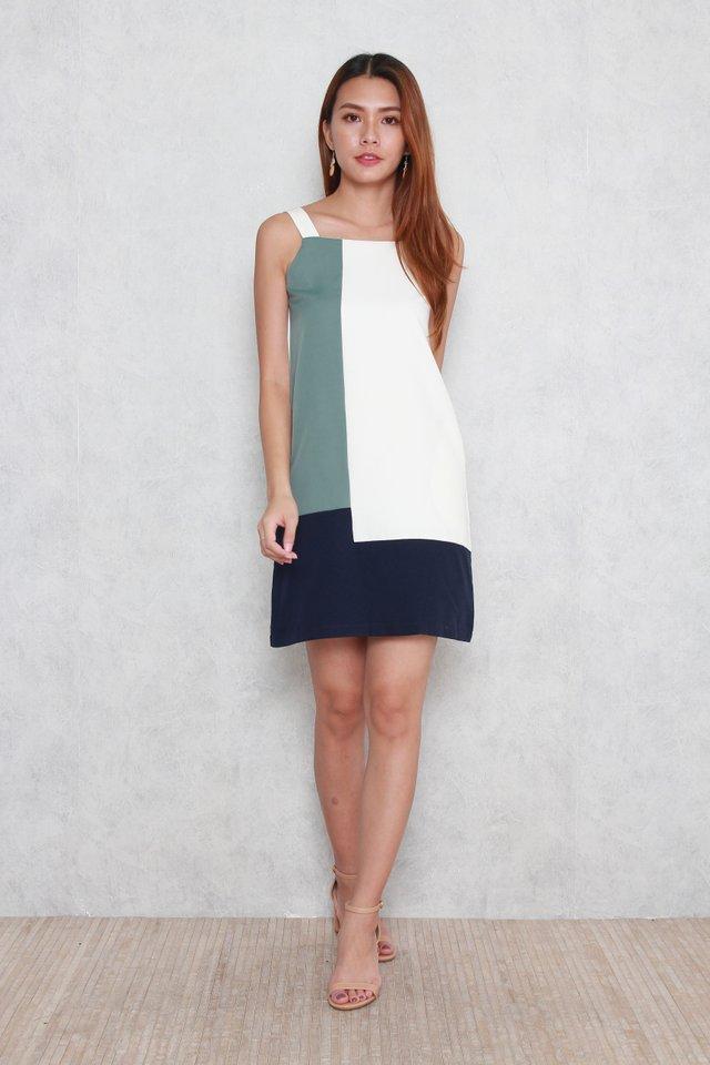 Mabel Colorblock Midi Dress in Olive