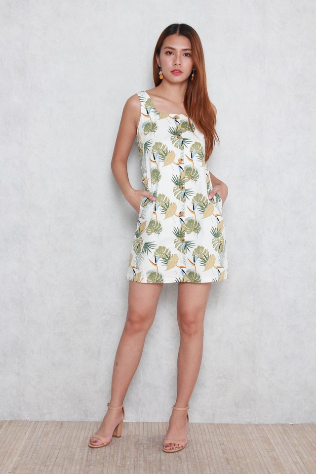 Sadie Tropical Leaf Button Dress in Olive