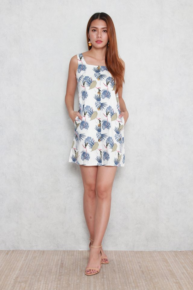 Sadie Tropical Leaf Button Dress in Blue