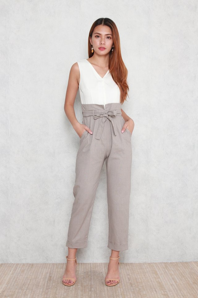 Remi Zip Front High Waist Jumpsuit in Beige