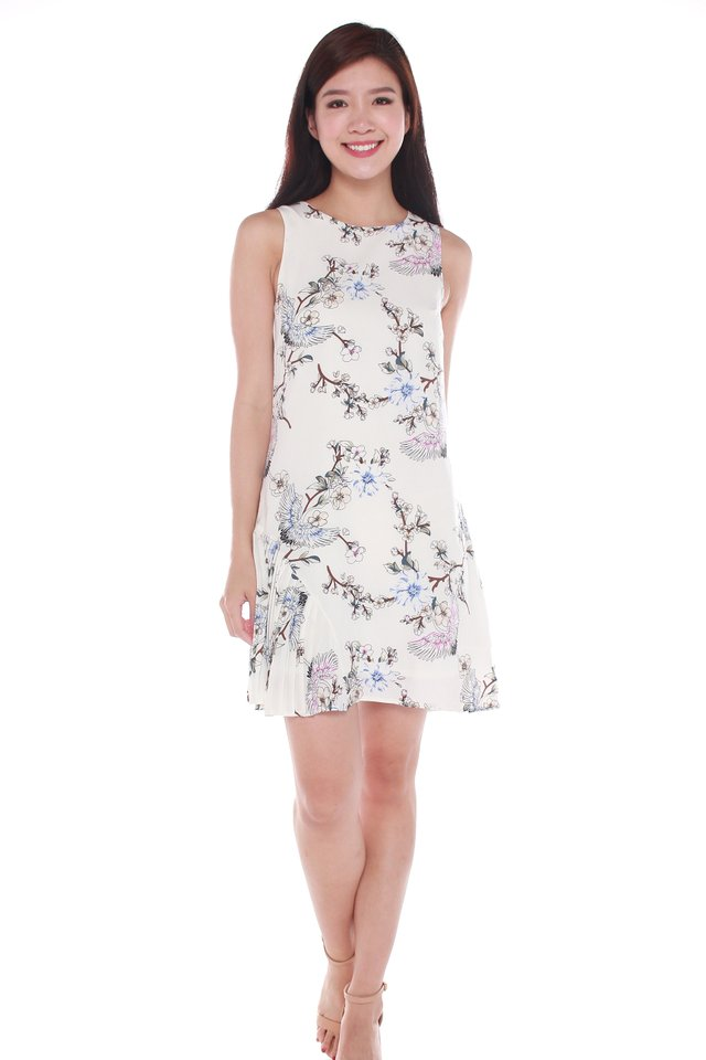 Zoey Floral Printed Sleeveless Mini Dress in White
