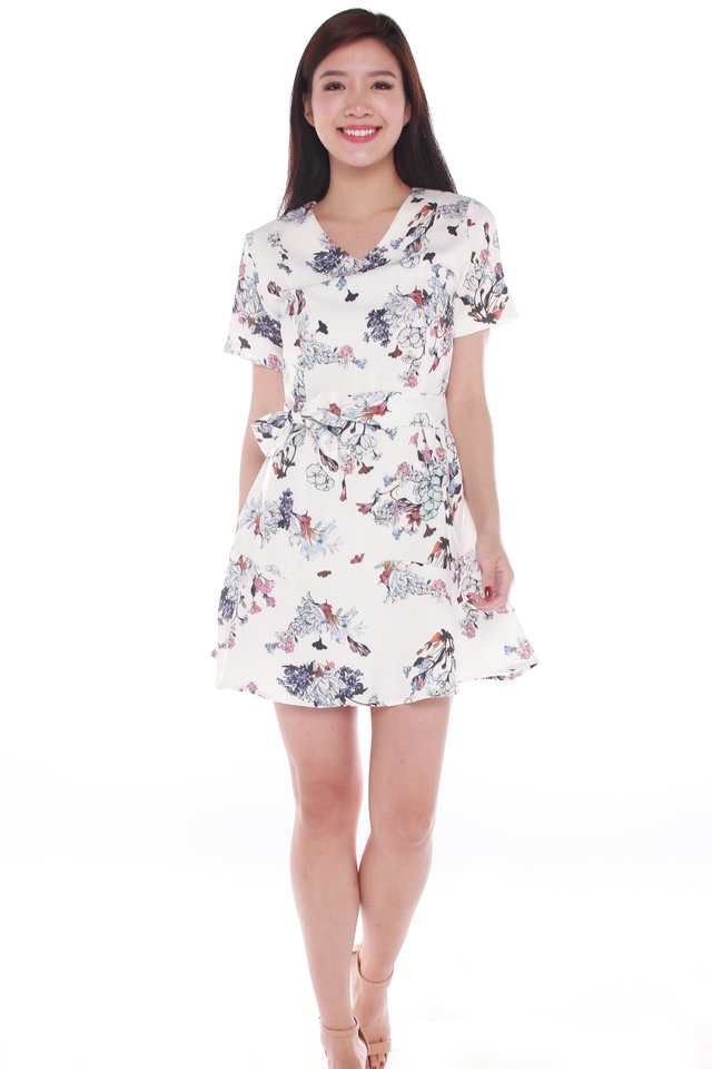 Aurora Floral Printed Ruffle Dress in White
