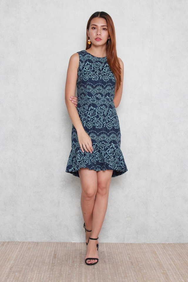 Juliette Sleeveless Lace Dress in Navy Blue