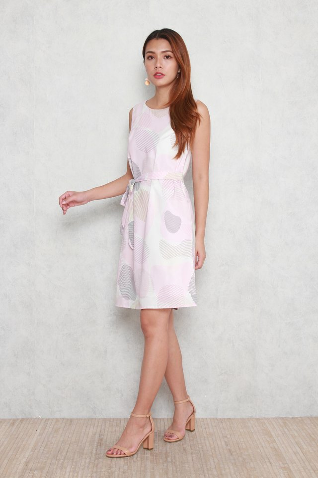 Lucille Sleeveless Abstract Midi Dress in Pink