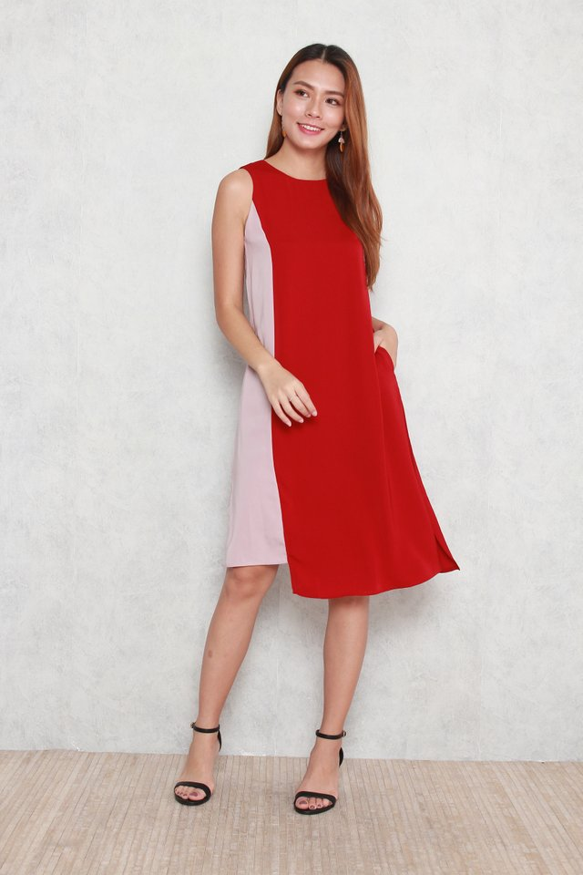 Elina Colourblock Slit Dress in Red