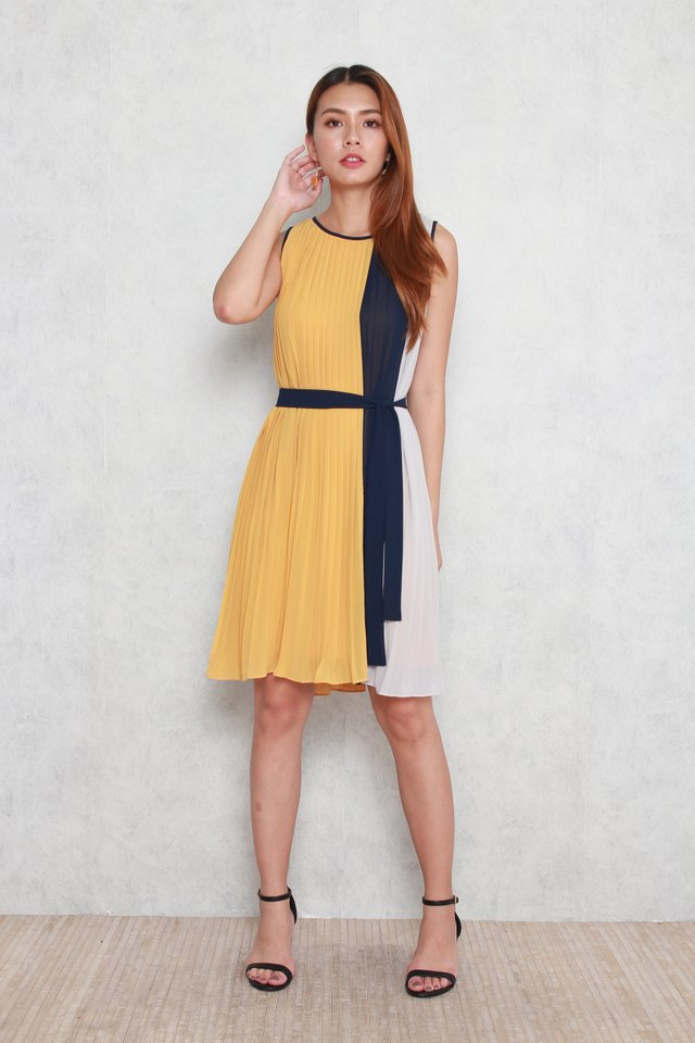 Ella Colourblock Pleated Dress in Mustard