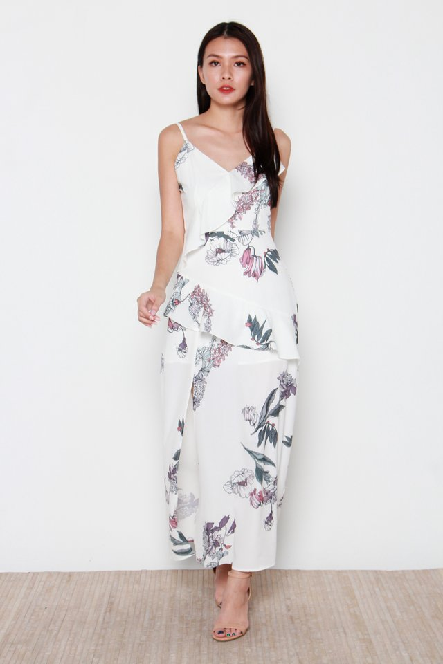 Gardenia Floral Maxi Dress in White