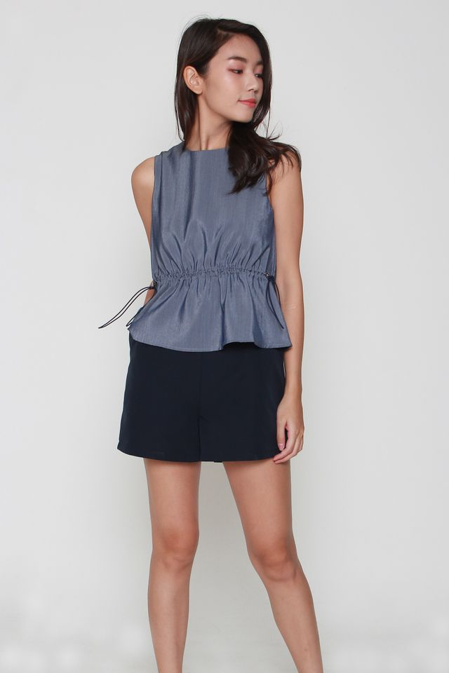 Camryn Faux Drawstring Romper in Blue