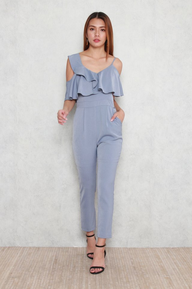 Kejya Ruffled Asymmetric Jumpsuit in Dusty Blue