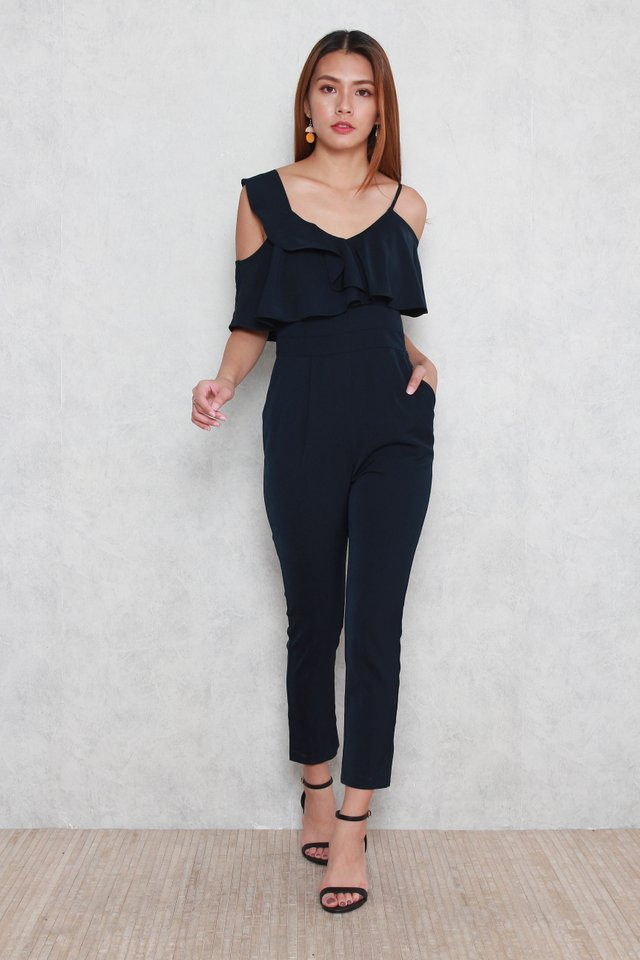 Kejya Ruffled Asymmetric Jumpsuit in Navy Blue