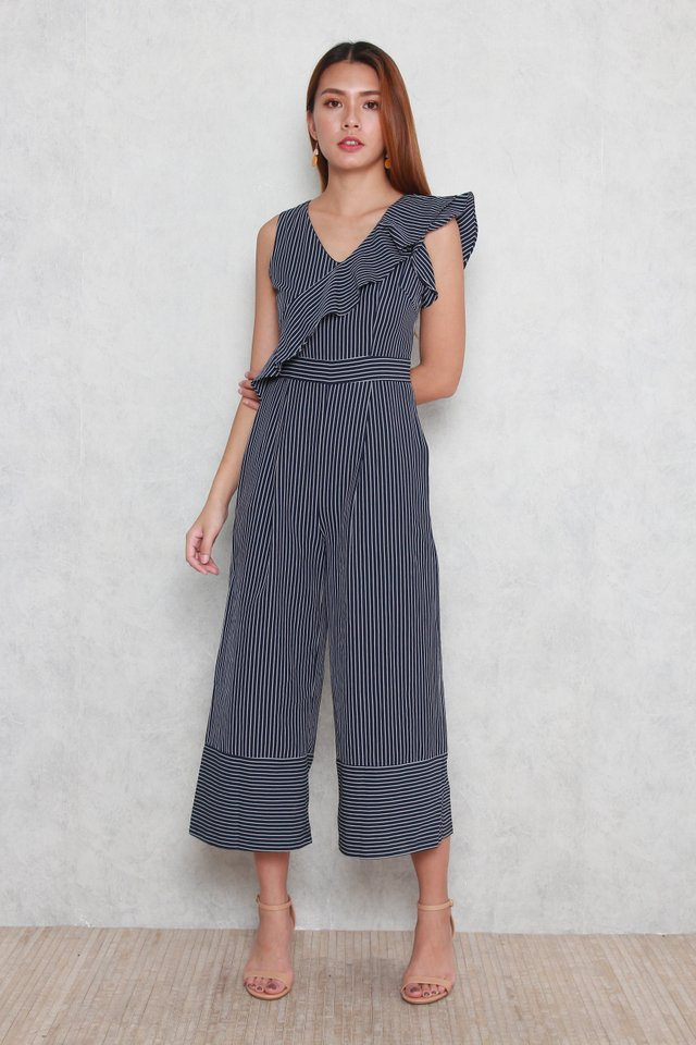 Daphne Striped Jumpsuit in Blue