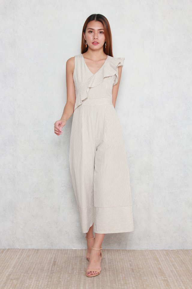 Daphne Striped Jumpsuit in Grey