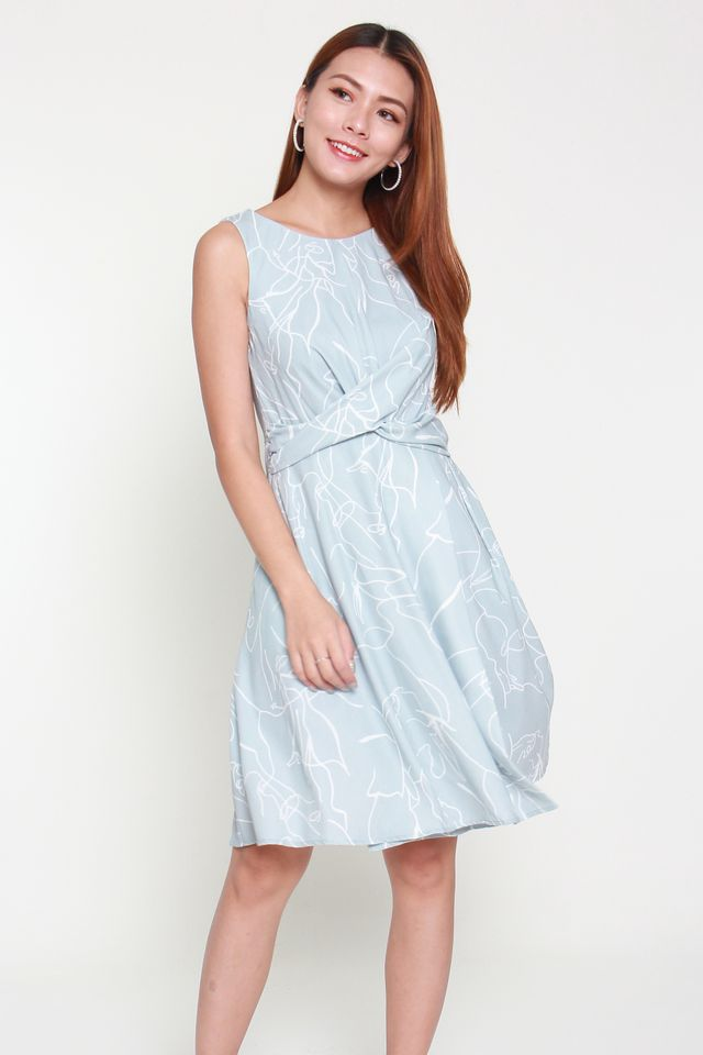 Kiana Printed Criss Cross Dress in Light Blue