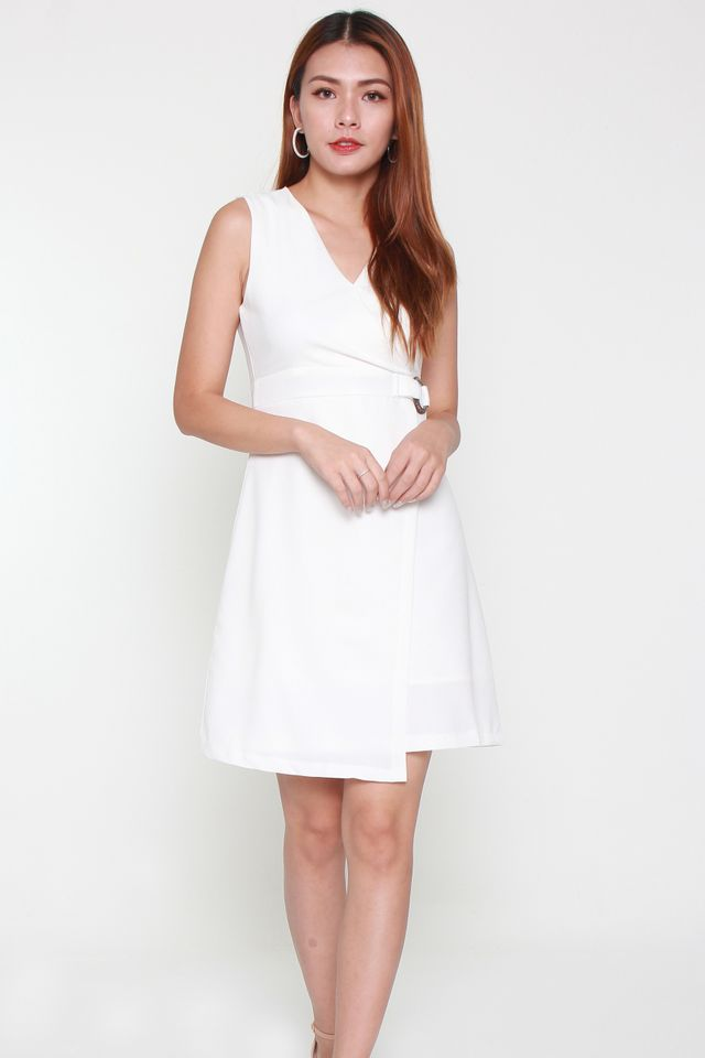 Olivia Buckle Work Dress in White