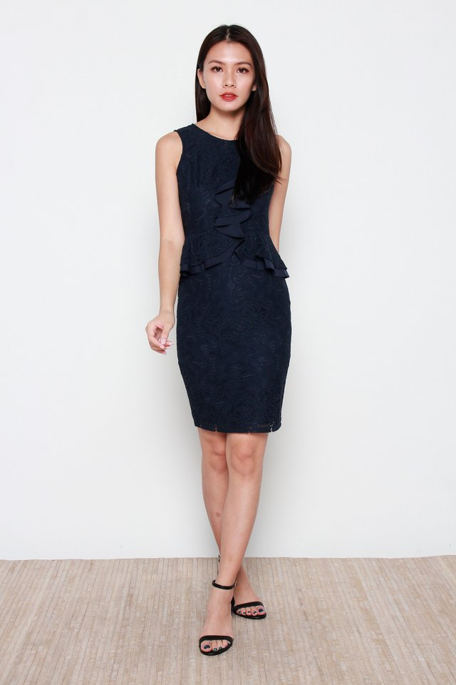 Victoria Ruffled  Lace Dress in Navy Blue