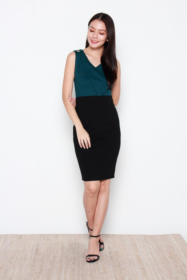 Nerille Contrast Dress in Black/Green