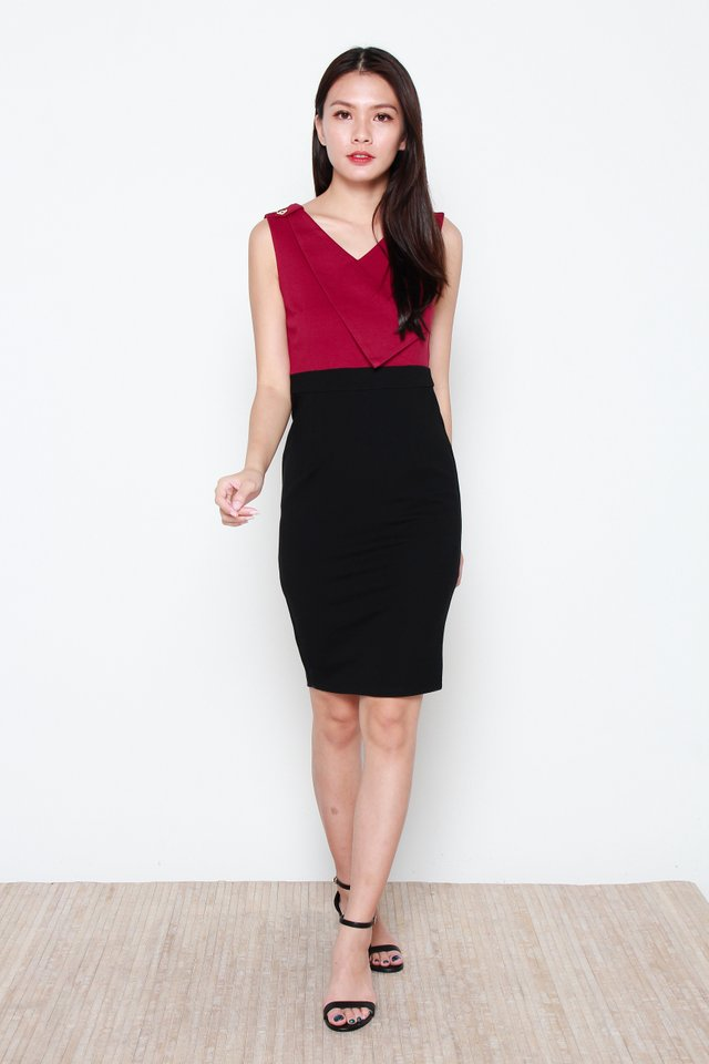 Nerille Contrast Dress in Black/Wine