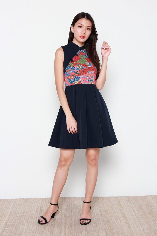 Hiromi Oriental Prints Cheong Sam Dress in Navy Blue