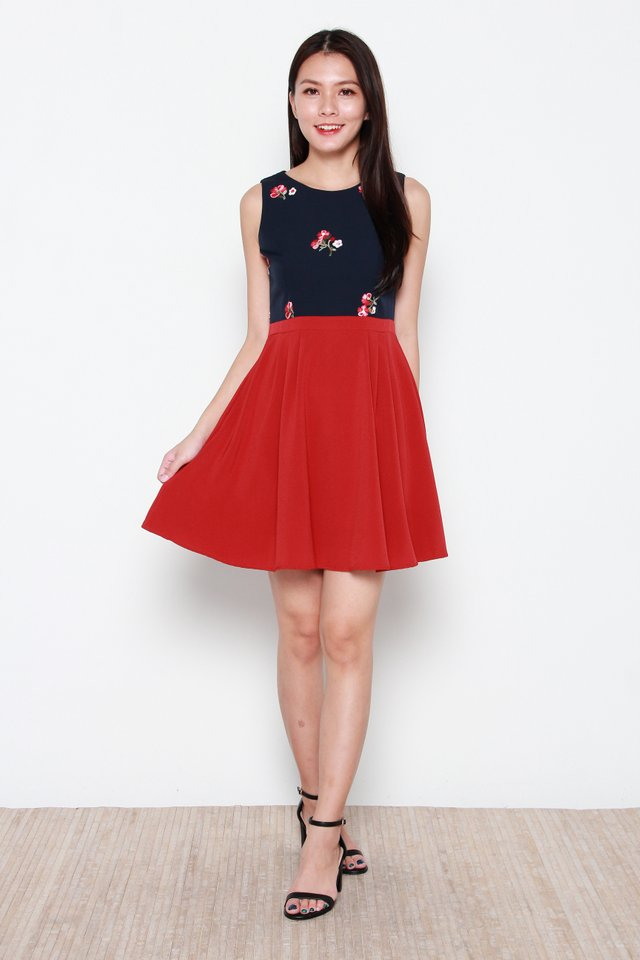 Naoki Faux Two-Piece Floral Dress in Navy Blue/Red